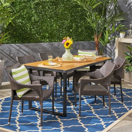 Noble House Welch 7 Piece Outdoor Acacia Wood and Wicker Dining Set in Teak Perspective: top