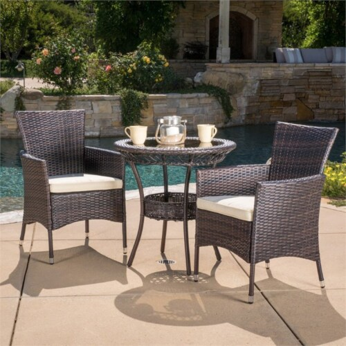Noble House Parker 3 Piece Outdoor Bistro Set in Brown Perspective: top