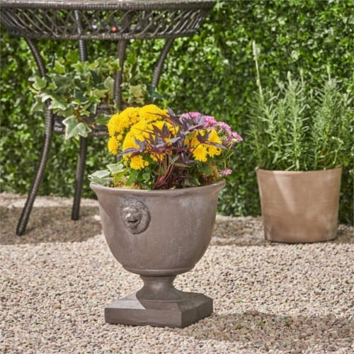 Noble House Simba Outdoor Roman Chalice Garden Urn Planter in Antique Gray Perspective: top