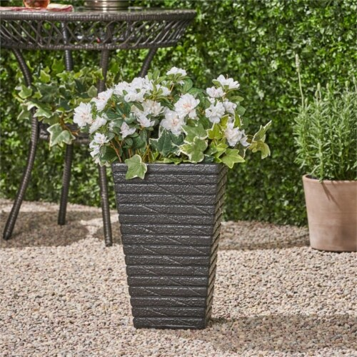 Noble House Jude Outdoor Tapered Channel Square Garden Urn Planter in Black Perspective: top