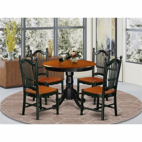 East West Furniture Antique 5-piece Dining Set with Wood Seat in Black/Cherry Perspective: top