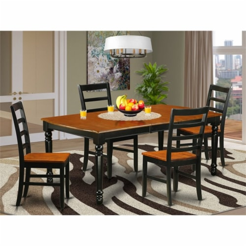 East West Furniture Dover 5-piece Wood Kitchen Table Set in Black/Cherry Perspective: top