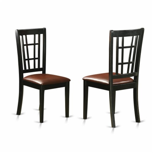 5 Piece Sudbury Set With One Table & 4 Dinette Chairs In A Rich Black & Cherry. Perspective: top