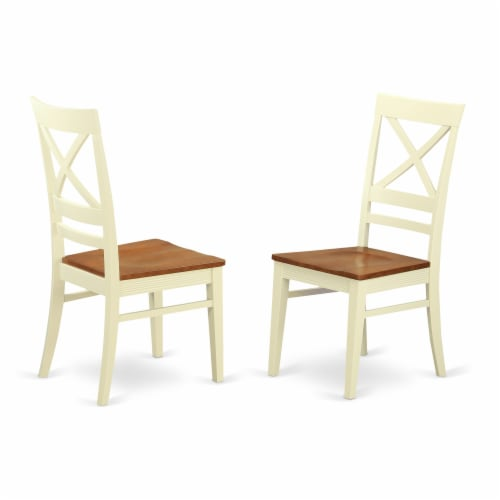 East West Furniture Nicoli 6-piece Wood Dinette Table Set in Buttermilk/Cherry Perspective: top