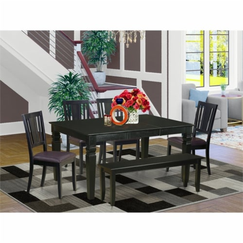 East West Furniture Weston 6-piece Wood Dinette Table Set in Black Perspective: top