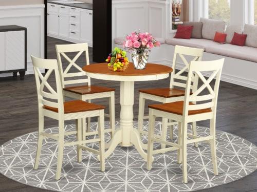 East West Furniture Eden 5-piece Wood Dining Room Set in Buttermilk/Cherry Perspective: top