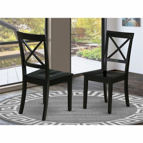 East West Furniture Boston 38  Wood Dining Chairs in Black (Set of 2) Perspective: top