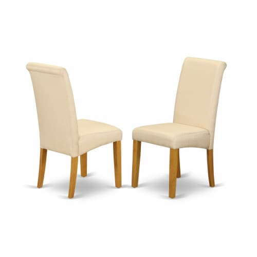 5Pc Dinette Set -Small table & 4 Chairs with Cream, Linen Fabric,Mahogany Perspective: top