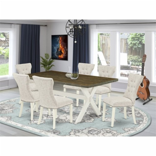 East West Furniture X-Style 7-piece Wood Dining Table Set in Linen White/Doeskin Perspective: top