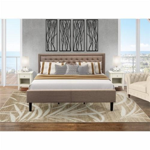 East West Furniture 3-piece Wood King Bedroom Set in Dark Khaki Brown Perspective: top