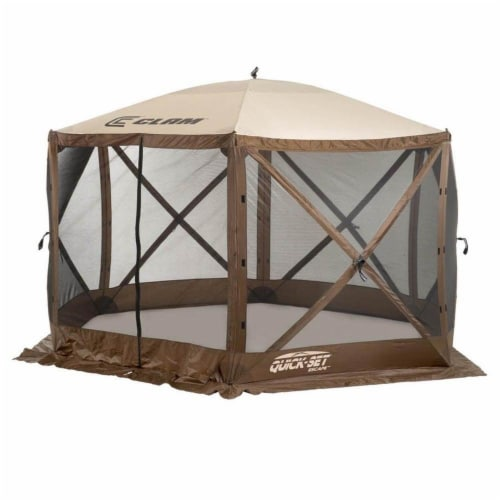 Clam Quick Set Escape Portable Camping Outdoor Gazebo Canopy, Brown/Tan (2 Pack) Perspective: top