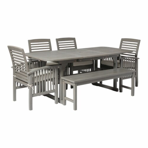 6-Piece Classic Outdoor Patio Dining Set - Grey Wash Perspective: top