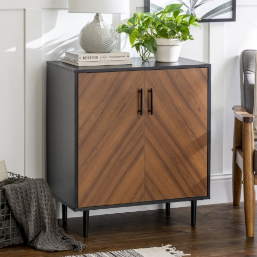 28  Modern Bookmatch Accent Cabinet - Solid Black Perspective: top