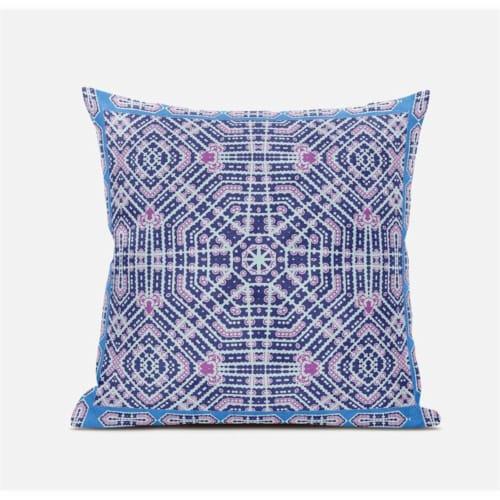 Amrita Sen Geostar Wreath Palace 16 x16  Suede Pillow in Indigo Hot Pink Perspective: top