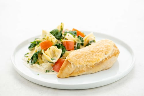 Home Chef Culinary Collection Parmesan-Crusted Chicken Breast with Spinach and Artichoke Tortellini Perspective: top