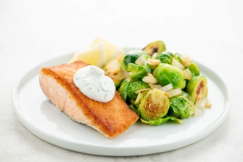 Home Chef Meal Kit Salmon and Lemon Tarragon Crema with Buttered Brussels Sprouts Perspective: top