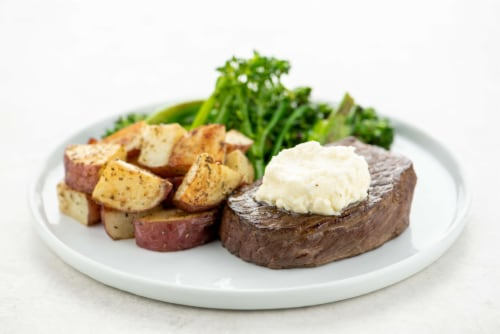 Home Chef Culinary Collection Sirloin Steak with Goat Cheese Butter Perspective: top