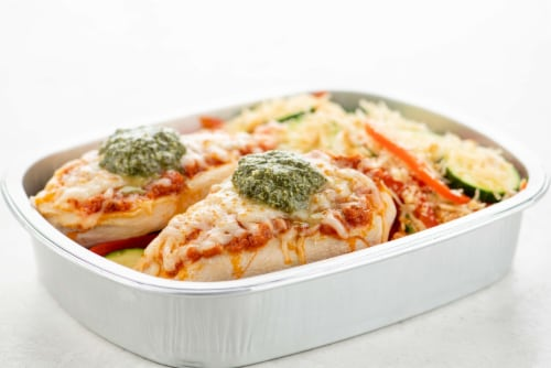 Home Chef Oven Kit Margarita Chicken with Garlic Parmesan Zucchini Perspective: top