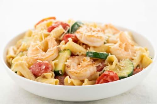 Home Chef Meal Kit Shrimp Campanelle Primavera Perspective: top