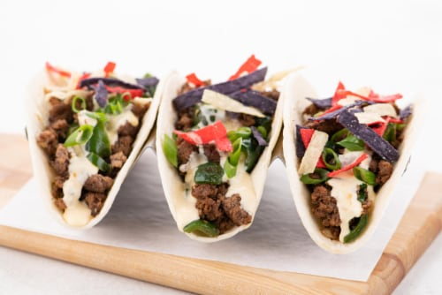 Home Chef Value Meal Kit Cheesy Beef And Poblano Tacos Perspective: top