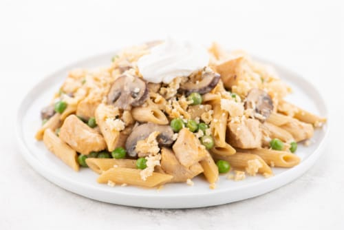 Home Chef Value Meal Kit Chicken Stroganoff Penne Bake With Mushrooms Perspective: top
