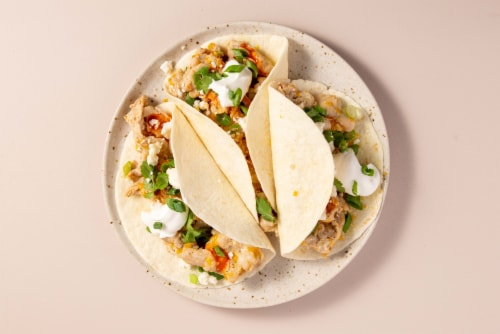 Home Chef Meal Kit Mojo Pork Tacos With Queso Fresco And Sour Cream Perspective: top