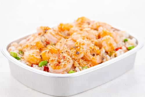 Home Chef Oven Kit Sweet Chili Coconut Shrimp With Pepper And Edamame Rice Perspective: top