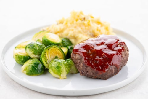 Home Chef Meal Kit Brown Sugar-Glazed Meatloaf With Cheddar Mashed Potatoes And Brussels Sprouts Perspective: top