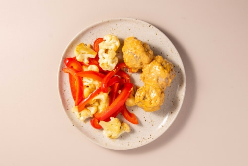 Home Chef Oven Kit Bacon-Stuffed Pork Meatballs And Chipotle Sauce With Cauliflower Perspective: top