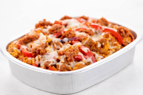 Home Chef Oven Kit Italian Sausage And Creamy Sun-Dried Tomato Baked Orzo Perspective: top