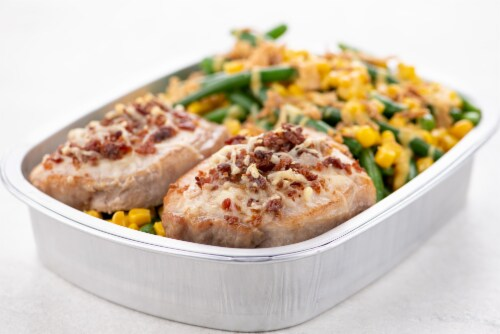 Home Chef Oven Kit Bacon And Gruyere-Crusted Pork Chop With Honey Mustard Green Beans Perspective: top