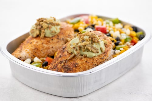 Home Chef Oven Kit Creamy Avocado Chicken With Black Bean And Bell Pepper Succotash Perspective: top