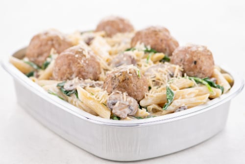 Home Chef Oven Kit Turkey Meatballs With Truffle Penne Perspective: top