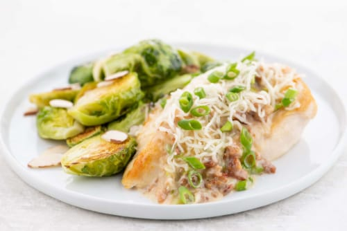Home Chef Meal Kit Chicken Lorraine With Roasted Brussels Sprouts Almondine Perspective: top