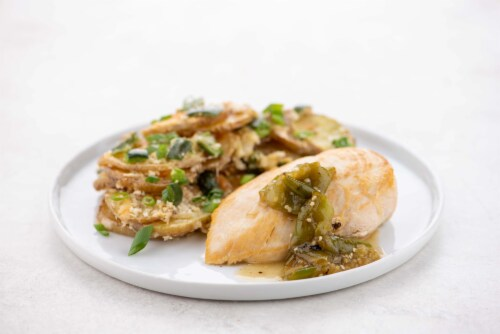 Home Chef Culinary Collection Chicken Breast And Charred Tomatillo Sauce Perspective: top