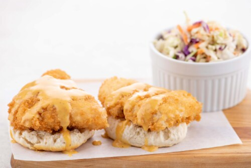 Home Chef Meal Kit Crispy Chicken Biscuit Open-Faced Sandwiches & Spicy Honey Mustard With Coleslaw Perspective: top