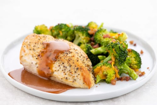 Home Chef Meal Kit Garlic Pepper Chicken And Honey BBQ Sauce With Cheddar Bacon Broccoli Perspective: top