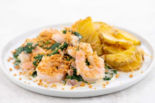 Home Chef Meal Kit Creamy Shrimp Casino With Parmesan Roasted Potatoes Perspective: top
