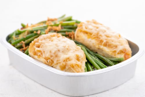Home Chef Oven Kit French Onion Chicken With Peppercorn Green Beans Perspective: top