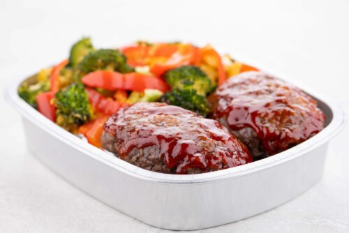 Home Chef Oven Kit Classic Brown Sugar-Glazed Beef Meatloaf With Cheddar Broccoli Perspective: top