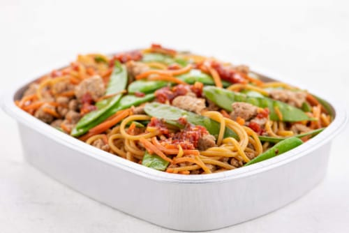 Home Chef Oven Kit Pork Pho Noodle Bowl With Snow Peas And Carrots Perspective: top