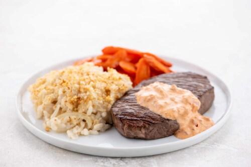 Home Chef Culinary Collection Sirloin Steak And Garlic-Tomato Aioli Perspective: top