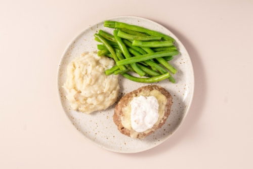 Home Chef Oven Kit French Onion Beef Meatloaf With Mashed Potatoes And Green Beans Perspective: top