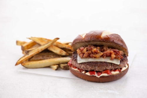 Home Chef Culinary Collection Candied Bacon And Smoked Gouda Burger Perspective: top