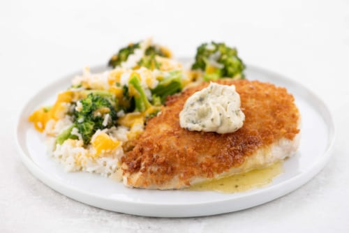 Home Chef Meal Kit Garlic Butter Crispy Chicken With Broccoli Cheddar Rice Perspective: top