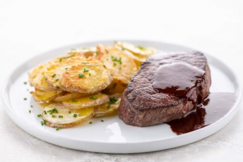 Home Chef Meal Kit Steak and Bordelaise Sauce Perspective: top