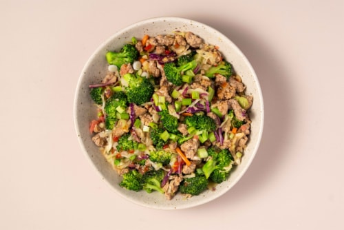 Home Chef Meal Kit Sweet Chili Ginger Pork and Broccoli Stir-Fry Stovetop Cooking Perspective: top