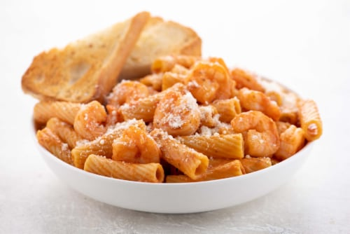 Home Chef Meal Kit Shrimp Rigatoni with Creamy Tomato Sauce Perspective: top