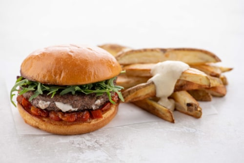 Home Chef Meal Kit Goat Cheese Juicy Lucy Burger with Tomato Jam Perspective: top