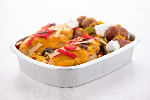 Home Chef Oven Kit Cheddar Tortilla Chicken with Pepper and Potato Hash Perspective: top